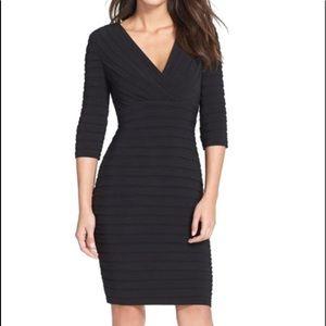 Adrianna papell shutter pleat black sheath dress